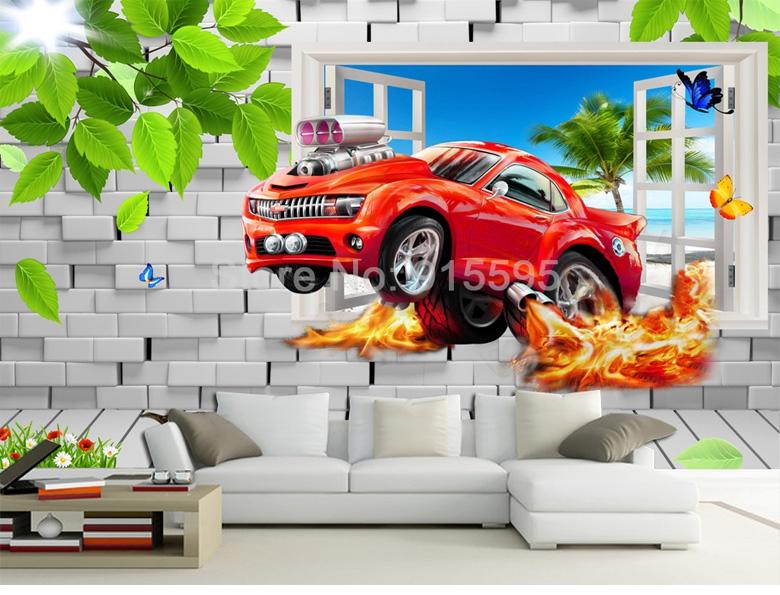 HTB1URiPdtLO8KJjSZFxq6yGEVXa4 - Pastoral Style Children Room Bedroom Wall Decoration Mural Wallpaper 3D Stereoscopic Window Cartoon Car Broken Wall Large Murals