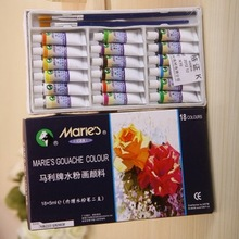 Marie's gouache paint  set +2 Gouache bruhes professional paints for Artists 5 ml*18pcs /set