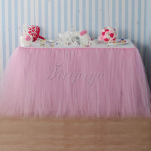 Pink Tulle Tutu Table Skirt Home Textile Wedding Table Skirts 100cm x 80cm for Event Party Baby Shower Decoration Free Shipping