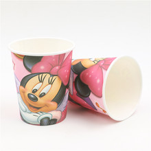 birthay decoration party supplies minnie mouse cartoon 10pcs disposable paper drinking glasses pink minnie mouse paper cups