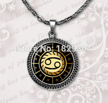 Cancer Necklace Cancer Pendant Zodiac Sign Pendant Glass Dome Pendant Necklace