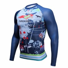 Muscle Men mewest Tight T-shirt Long Sleeves Double Sides bikes cycling jerseys brand Fitness Base Layer Weight Lifting Wea(China)