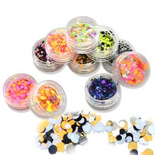 STZ 1Set 10 Colors New Nail Designs Round 1-3mm Nail Glitter Powder Dust 3D Nail Art Decorations Sparkly Paillette DIY Tips B10