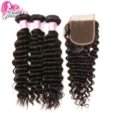 Beauty Forever Brazilian Deep Wave Hair Bundles With Closure Free Part 100% Remy Human Hair Weaves(China)