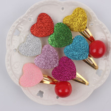 2017 sequins material girls hair clips 6 color (love heart size 34mm+34mm)gold barrettes hair accessories for kids Hairpins 1pcs