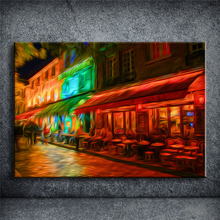 Street cafe Pictures Night Moon abstract Oil Painting Prints on Canvas Famous Home Decor Unframed Cuadros Decoracion YOQP150