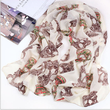 Women Foulard Shawl Skull Print Scarves For Women Chiffon Long Silk Shawls Scarf Brand New Skull Neck Echarpes Fulares Mujer hot