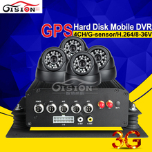 GPS Track 3G Network HDD Dvd Video Recorder Vehicle Car Dvr Motion Detection Real Time Surveillance Cyclic Recording +4 Camera(China)