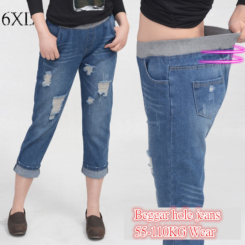 6EXTRA LARGE Plus Size Womens Jeans High Waist Beggar Hole Jeans Female Version Casual Seven Jeans Straight Elastic Waist JeansОдежда и ак�е��уары<br><br><br>Aliexpress