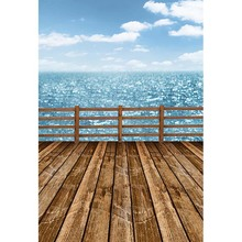 Custom vinyl cloth blue sky sea wooden railing photography backdrops for wedding model photo studio portrait backgrounds CM-5744