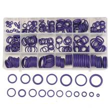 225Pcs O Ring Gaskets Car A/C R22 R134a System Air Conditioning O Ring Seals Washer Kit Tool HNBR Rubber Purple Standard Parts