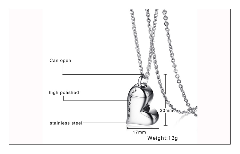 Meaeguet Stainless Steel Heart Urn Pendant Cremation Ashes Necklace For Women Memorial Personalized Keepsake Jewelry (5)