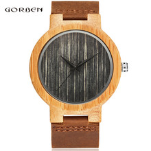2017 New Arrival Top Sales Free Shipped Fashion Japanese Quartz Movement Bamboo Wood  Wrist Watch Men's Watch Best Gift  W004