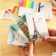 Creative Famous Buildings Hard Cover Mini Notebook Episode Diary Book dual Memo Pad Sticky Notes with Ballpoint Pen(China)