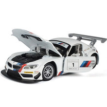 Cool 1: 24 car model for BMW Z4 GT3 sports car alloy model car children toys Christmas gifts Pull Back Car With Sound&Light