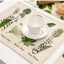 Green Leaves Printed Placemat Cotton Linen Mats For Dinner Party Dishware Pad Kitchen Accessories Cup Wine mat tableware pads
