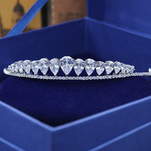 2017 New Arrival Stunning Vintage Clear Cubic Zircon Wedding Tiara CZ Bridal Queen Princess Pageant Royal Party Crown(China)