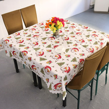 Christmas Santa Claus Tablecloth White and Red Festivals Household Christmas Table Covers Decoration