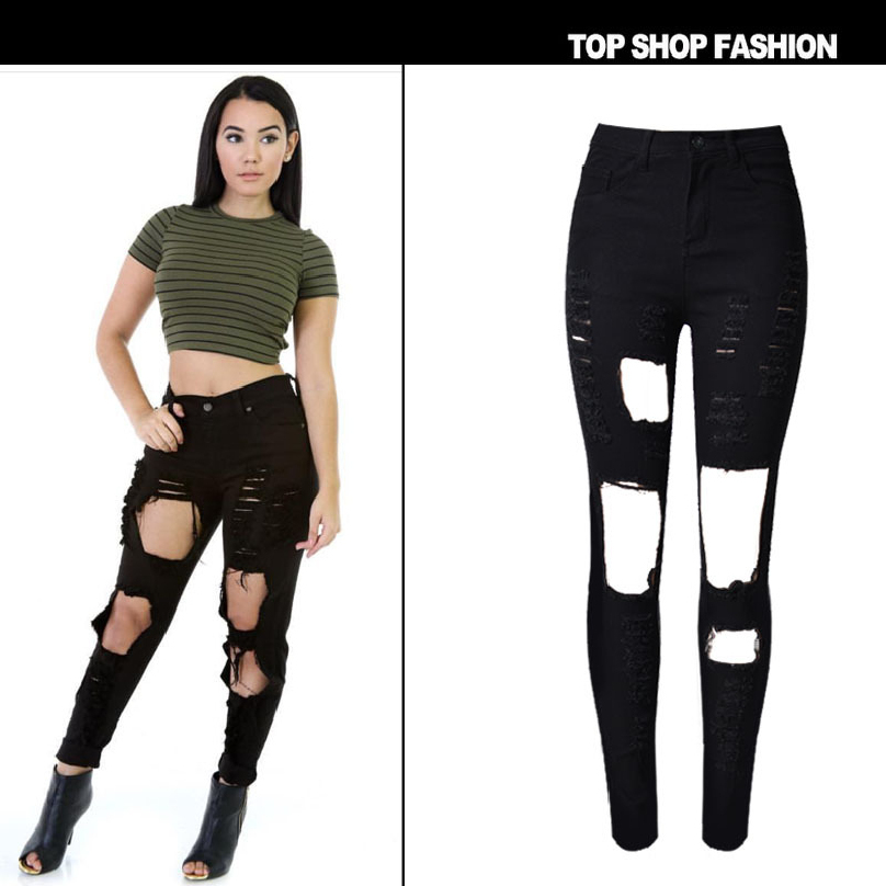 Liva Girl Jeans women Boyfriend Pencil Skinny Jeans Women female with High Waist Ripped Black Jeans womens trousersÎäåæäà è àêñåññóàðû<br><br>