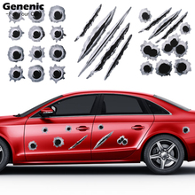 1PC New Fashion Cool Creative Car Styling 3D Fake Bullet Hole Gun Shots Hot Funny Car Stickers Decals