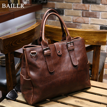 2019 New Fashion Brands Vintage Leather Briefcases Men Messenger Bags Brown Luxury Business Briefcase Document Lawyer Laptop Bag