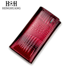 HH Alligator Womens Clutch Wallets Luxury Patent Crocodile Multifunctional Genuine Leather Ladies Clutch Purse Hasp Long Wallet(China)