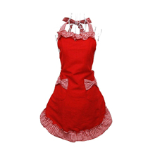 Lovely princess rural style Working Chefs Kitchen Cooking Cook Womens Fancy Maid Set Apron with Bowknots Pockets Design (Red)