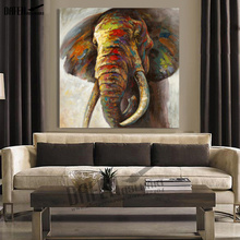Decorative Art 100% Handmade Animal Oil Painting Canvas Wall Paintings Abstract Colorful Elephant Picture Living Room Home Decor(Hong Kong)