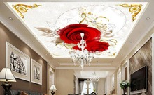 ceiling murals wallpaper customize 3D stereoscopic ceiling photo wallpaper Red Rose Love non-woven 3d wallpaper for ceiling