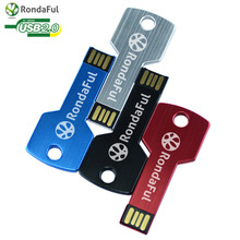 Rondaful USB Flash Drive 4 colors Metal Key 4GB 8GB 16GB 32GB Pendrive Waterproof Pen Drive 64 GB USB 2.0 USB Memory Stick(China)