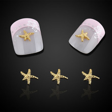 10pc Beauty Starfish Nail Art Decorations Glitter Gold Alloy 3D Nail Jewelry DIY Ocean Series Nails Tips Free Shipping