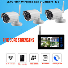 2.4G Wireless 1.3MP CCTV Camera Outdoor IR Camera Indoor 7 Inch Color LCD Full Set Video Intercom and Surveillance System