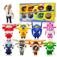 Free shipping 9pcs/lot Super Wings Mini Planes Transformation Robot Action Figures Mini Super Wings toys for kids(China)