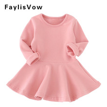 Baby Girl Solid Cotton Dress Fashion Long Sleeve A-Line Ruffles Dresses Infant Casual Clothes Newborn Baby Party Dresses(China)