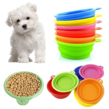 Hot Sale Kawaii Pet Dog Cat Portable Silicone Collapsible Travel Feeding Bowl Water Dish Folded Feeder High Quality