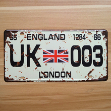 "RONE136 vintage license Car plates "" UK-003 london England "" vintage metal tin signs garage painting plaque picture 15x30cm(China)"