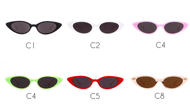 ec8d44bbcb WHO CUTIE 2018 Small Red Cat Eye Sunglasses Women Skinny Narrow ...