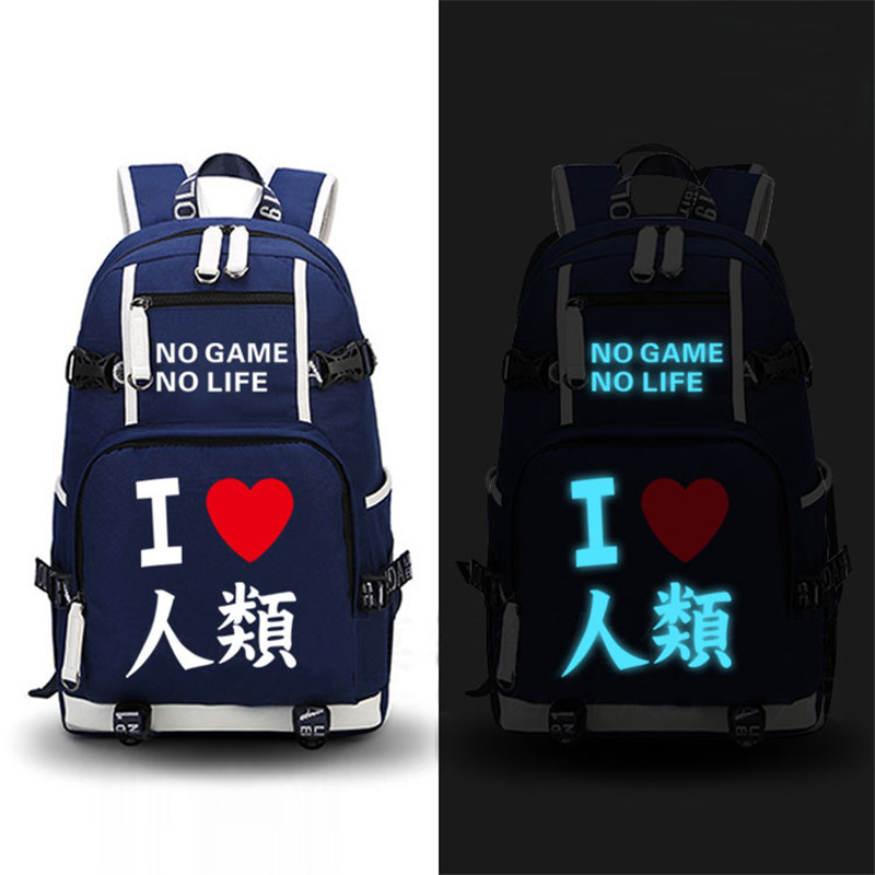 2017 New NO GAME NO LIFE Luminous Printing Laptop Backpack School Backpacks for Teenage Girls Mochila Feminina Canvas Bags<br>