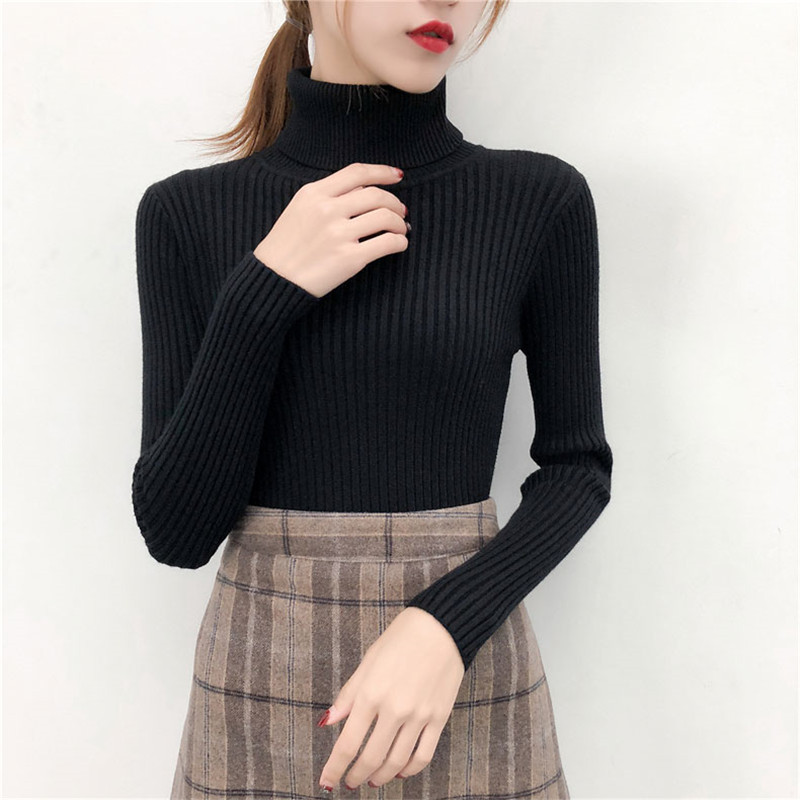 19 Women Sweater casual solid turtleneck female pullover full sleeve warm soft spring autumn winter knitted cotton 9