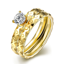 Handmade Gold-color Wedding Engagement Rings For Women Shiny Cubic Zirconia Stainles Steel Ring Fashion Brand Jewelry