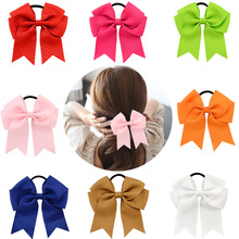 2017 Girls Solid Color Cheer Bow Elastic Hair Bands child Ribbon Rope Ponytail Holder Kids Fabric School Girls Hair Accessories