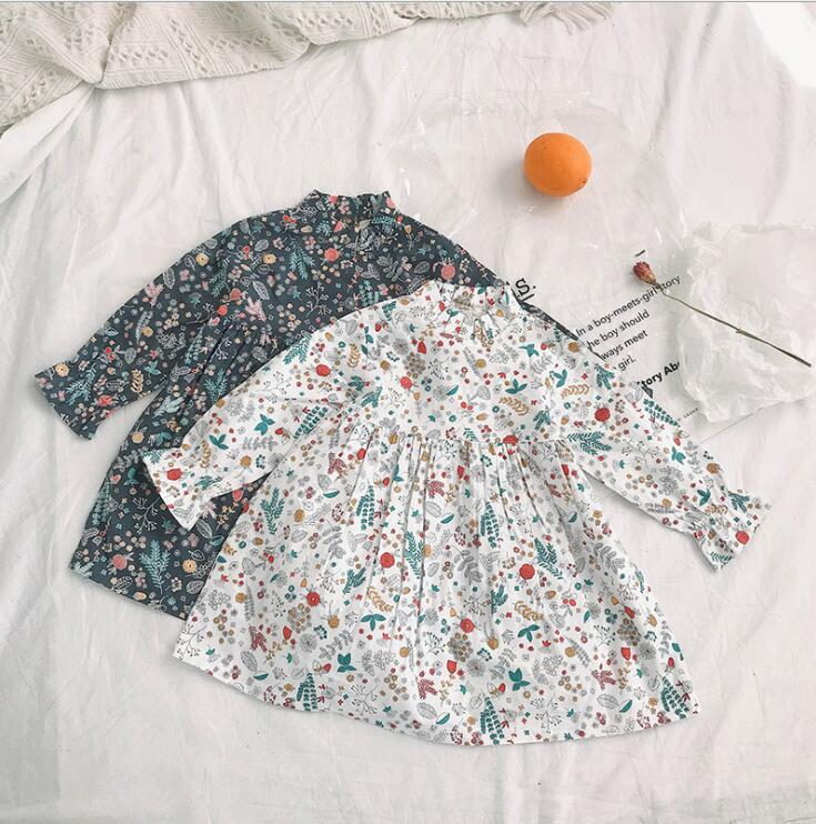 2019  New Style Girls Printed Dress Spring Cotton  Full Sleeve Fashion Girls Dresses 2-7 Year PO16