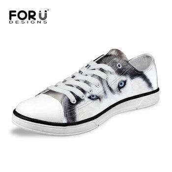 FORUDESIGNS Clásicos de Las Mujeres Zapatos de Lona Bajos de Blanco 3D Animal Gris Mascotas Perro Husky Impresión Comodidad Transpirable Vulcanizan Los Zapatos Planos de la Señora