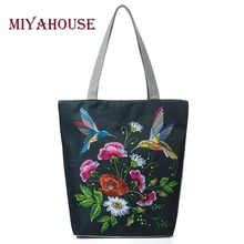 Miyahouse Retro Floral Print Beach Bags For Women Canvas Tote Handbags Birds Design Single Shoulder Bags Female Shopping Bag(China)
