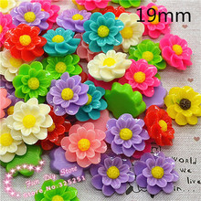 19mm resin flat back beautiful flower for ornament 100pcs multicolor(China)