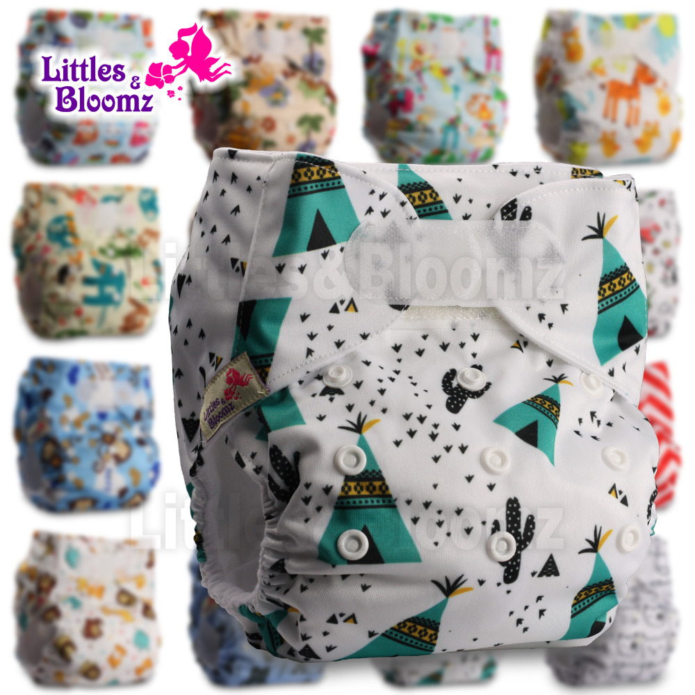 [Littles&Bloomz] Baby Washable Reusable Real Cloth STANDARD Hook-Loop Pocket Nappy Diaper Cover Wrap, suits Birth to Potty
