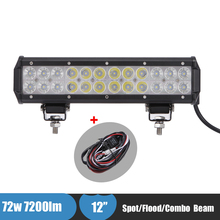 72W 12 Inch Car LED Light Bar for Jeep 4 Wheeler Go Karts Truck ATV Suv 4x4 Offroad Bar Driving Headlight for Yamaha Grizzly 700(China)