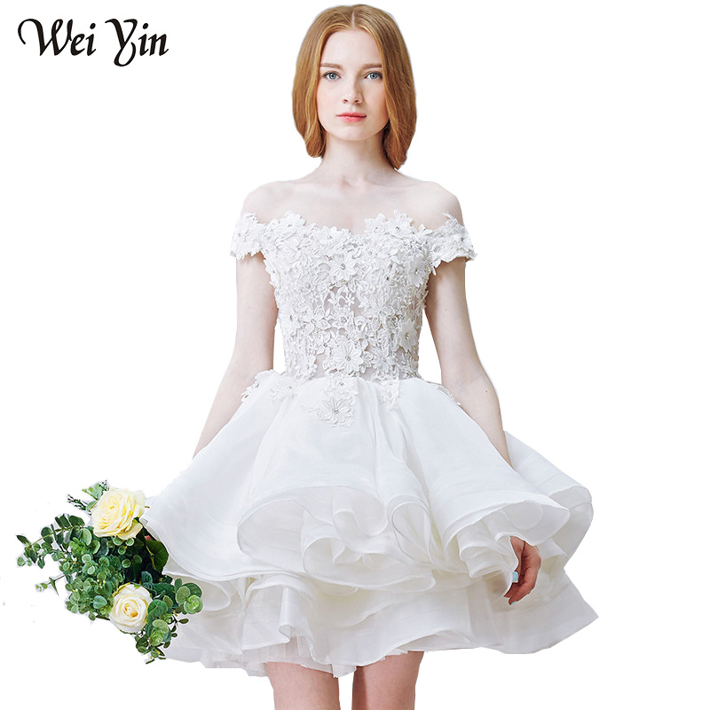WeiYin Real Images Elegant Line Shoulder Appqliues zipper Strapless Short Wedding Dress