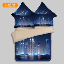 CLOVER LANGUAGE Cityscape 3D Bedding Set Quilted Fitted Sheet Comforter Shell Flat Sheet Bedclothes 3d Home Textiles Quilt Cover(China)