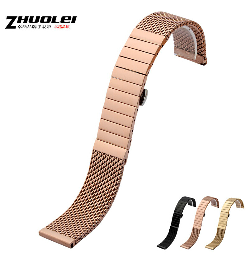 Watch band 22mm Rose Gold stainless steel SHARK mesh Watch Bands Strap bracelet NEW Watch Band Wristband<br>